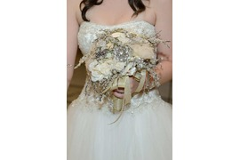 Gorgeous bridal bouquet made of pearls and sequins