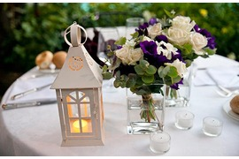 White and purple flower decor