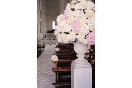 Decoration for wedding ceremony in white and pale pink