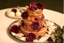 Chocolate wedding cake with fresh berries