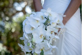 Bridal bouquet with white orchids for Capri wedding