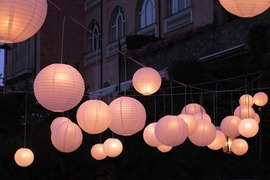 Paper lanterns for outdoor wedding reception