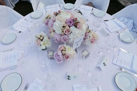 Table decoration for wedding banquet in Ravello