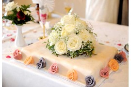 Wedding cake decorated with roses in pastel colors