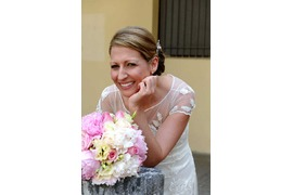 Bridal bouquet in white and pink for Amalfi wedding