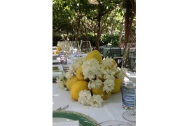 Decoration with lemons for a wedding banquet in a trattoria in Capri