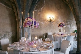 Pink and purple flowers for wedding banquet at Villa Cimbrone in Ravello