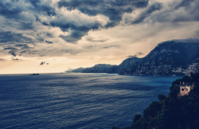 Panorama with seaview on the Amalfi Coast