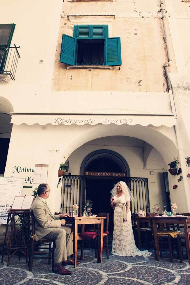 Bride and groom in the old town of Atrani