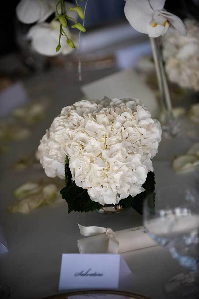 White hydrangeas for wedding reception in Ravello