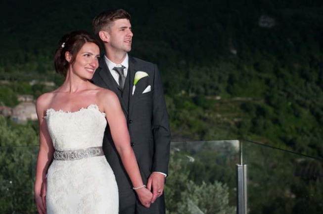 Portrait of the bridal couple at a Sorrento wedding