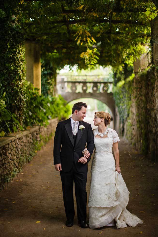 Bridal couple in the gardens of Villa Cimbrone Ravello