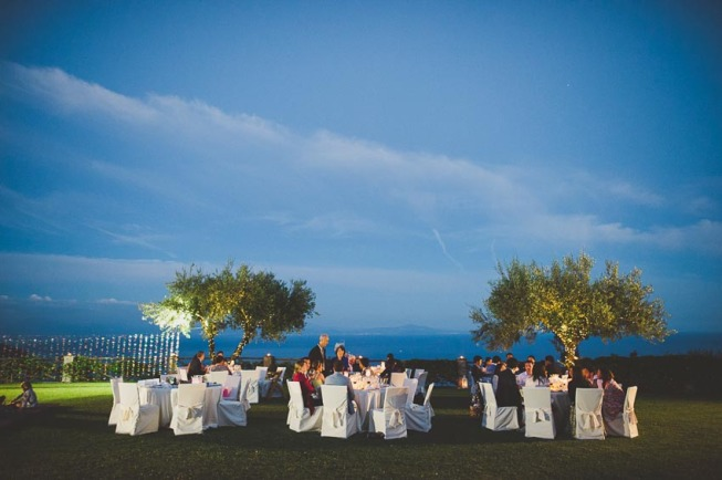Outdoor wedding reception in Ravello