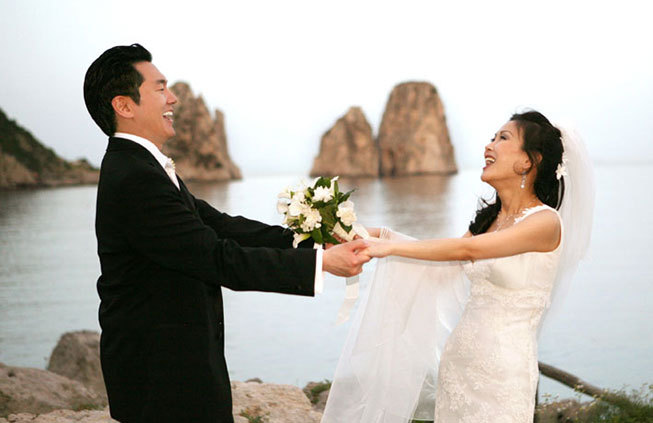 Bridal couple at Capri wedding