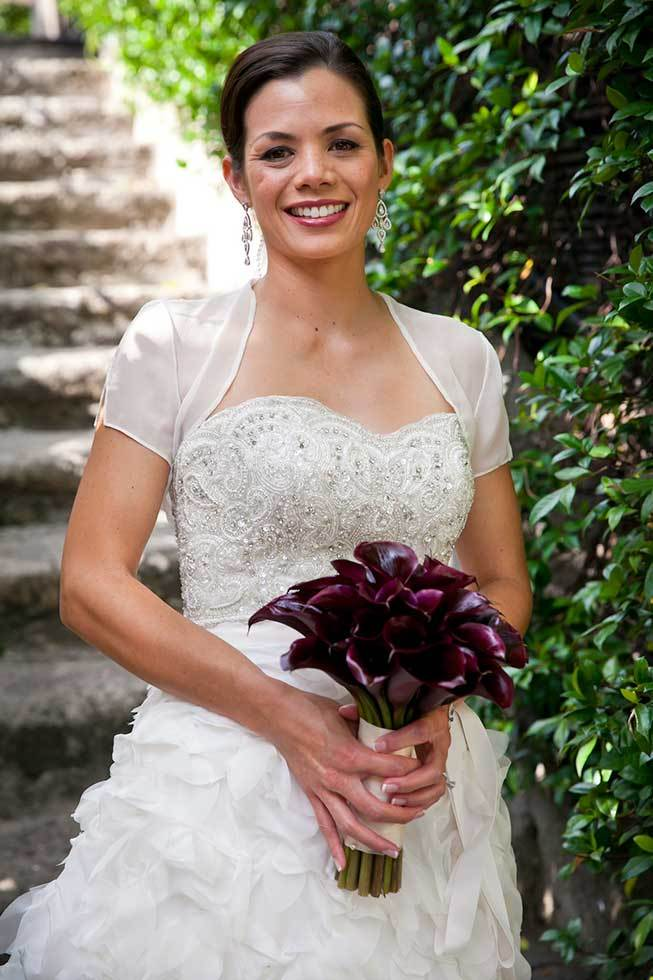 Bridal bouquet with purple calla lilies