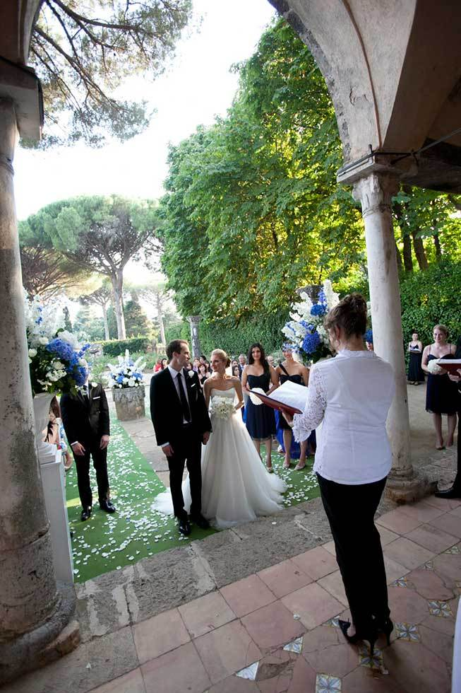 Wedding ceremony in the gardens of a Ravello villa
