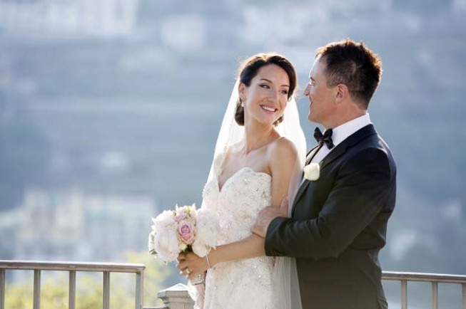 Portrait of the bridal couple at a Ravello wedding