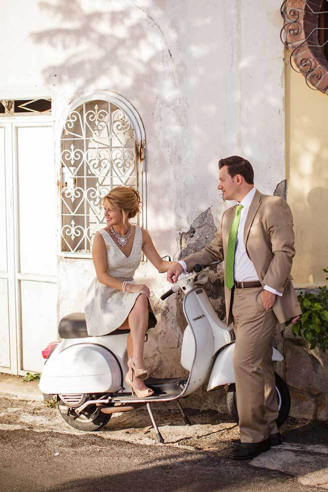 Couple on a Vespa on the Amalfi Coast