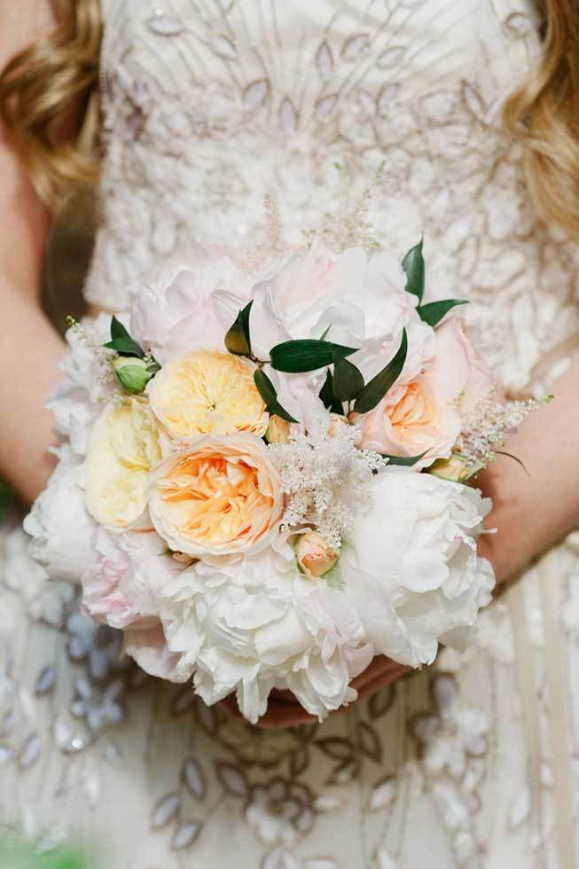 Bridal bouquet in white and pale orange