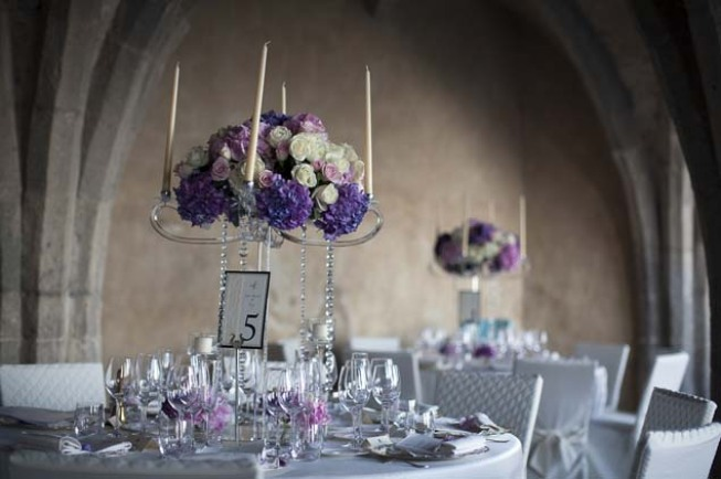Purple and white flowers for Wedding reception at Villa Cimbrone