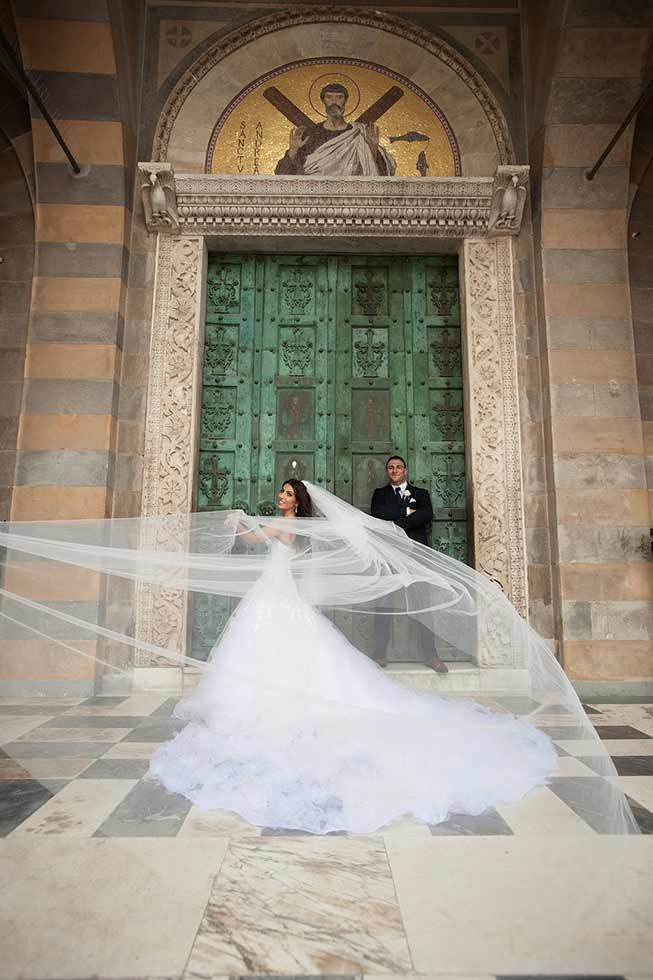 Stunning bridal gown with veil for wedding in Amalfi
