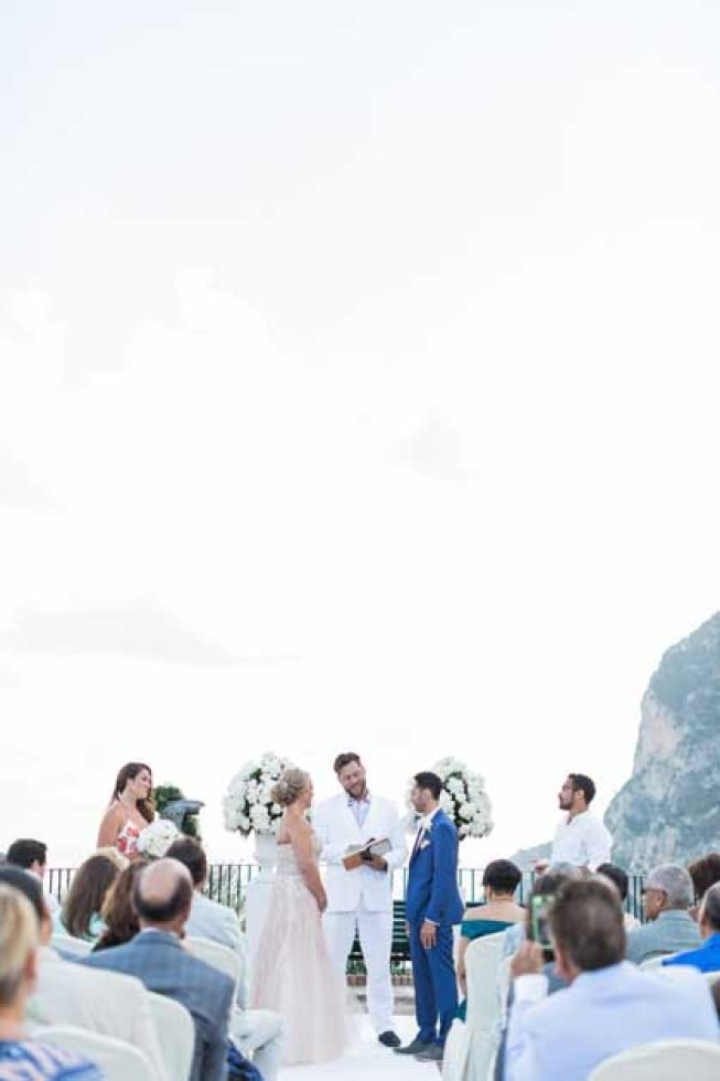 Outdoor wedding ceremony in Capri