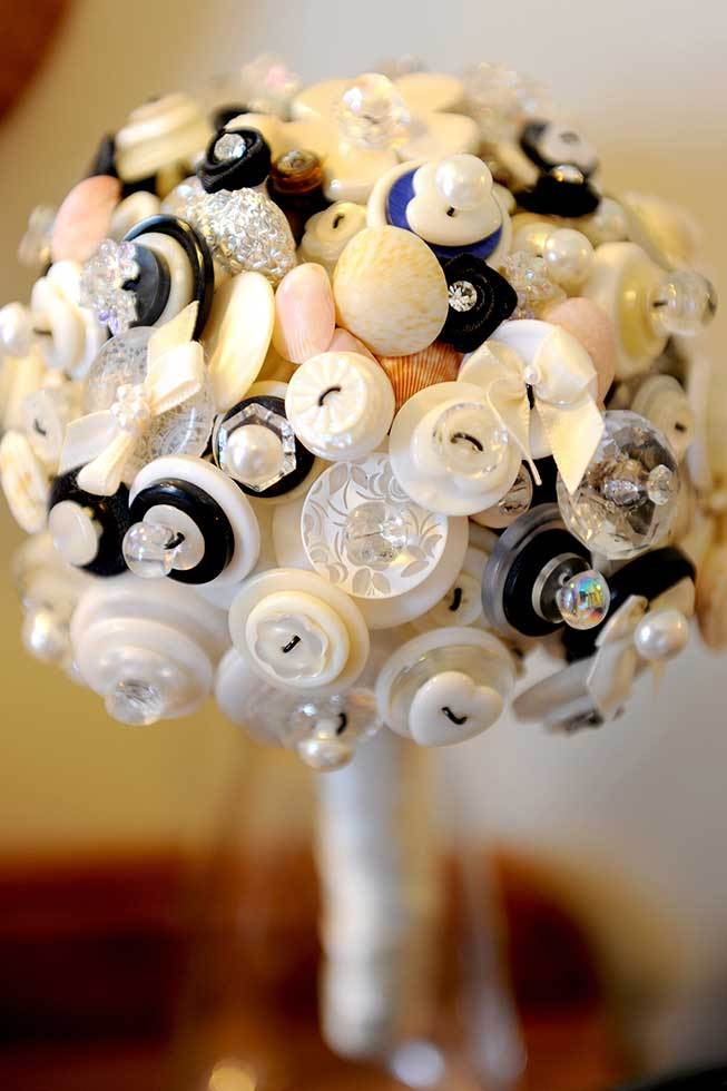 Whimsical bridal bouquet with buttons