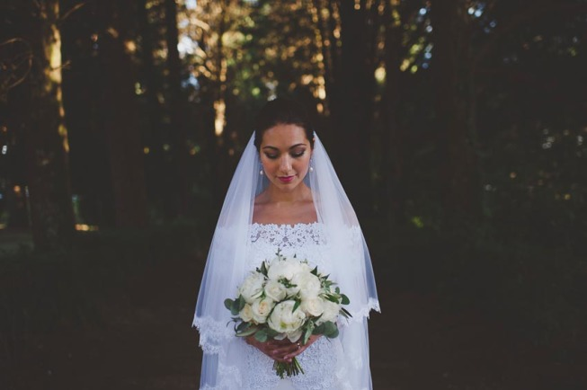 Portrait of the bride in the gardens of Villa Cimbrone