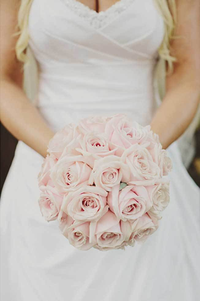 Bridal bouquet with pale pink roses
